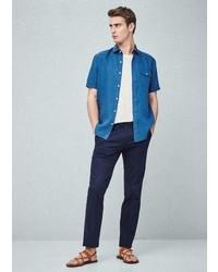 Mango Outlet Slim Fit Short Sleeve Linen Shirt