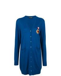 Dolce & Gabbana Long Line Cardigan With Sacred Heart Patch Unavailable