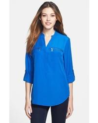 47079c65ee81 ... MICHAEL Michael Kors Michl Michl Kors Zip Pocket Blouse Amalfi Blue  Large