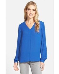 Nordstrom Pleione Highlow V Neck Blouse