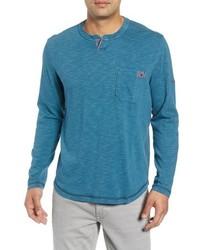 Blue Long Sleeve Henley Shirt