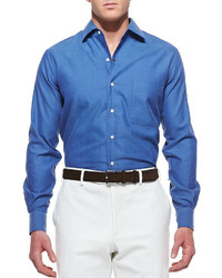 Loro Piana Andre Ginestra Button Down Shirt Blue