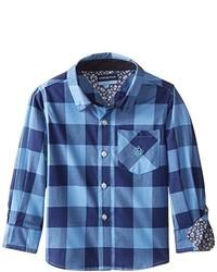 Andy & Evan Little Boys Blue Buffalo Check Shirt