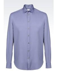 Armani Collezioni Shirt In Micro Fancy Weave Cotton
