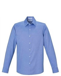Ash City North End Blue Wrinkle Free Cotton Royal Oxford Dobby Button Down Shirt