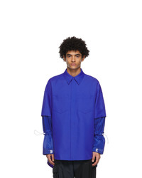 JERIH Blue Detachable Shirt
