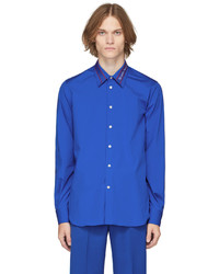 Alexander McQueen Blue Logo Tape Collar Shirt