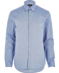 River Island Blue Oxford Slim Long Sleeve Shirt