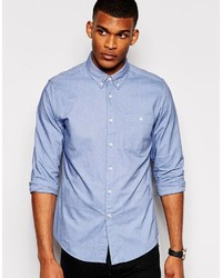 Asos Brand Oxford Shirt In Sky Blue With Long Sleeves