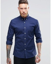 Asos Brand Skinny Shirt In Navy Twill With Long Sleeves
