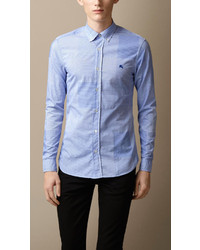 Burberry Brit Slim Fit Cotton Gingham Jacquard Shirt