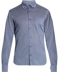 Ermenegildo Zegna Button Down Collar Cotton Jersey Shirt