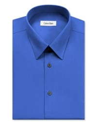 Calvin Klein Dress Shirt Cobalt Blue Solid Long Sleeve Shirt