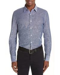 Canali Classic Fit Solid Cotton Linen Sport Shirt