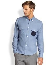 Saks Fifth Avenue Collection Modern Fit Contrast Pocket Sportshirt