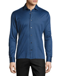 Luciano Barbera Cotton Pique Button Sport Shirt Blue