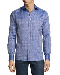 Etro Crosshatched Button Down Sport Shirt Navy