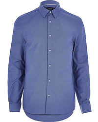 River Island Dark Blue Oxford Slim Long Sleeve Shirt