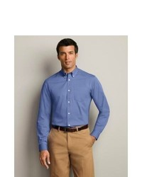 Eddie Bauer Wrinkle Free Relaxed Fit Pinpoint Oxford Shirt Solid Blue Xxxl Tall Tall