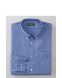 Eddie Bauer Wrinkle Free Slim Fit Pinpoint Oxford Shirt Solid Blue L Regular Regular