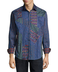 Robert Graham Glasgow Multi Pattern Woven Sport Shirt Blue