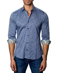 Jared Lang Heathered Sport Shirt Blue