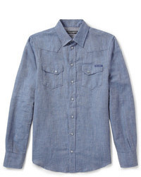 Dolce & Gabbana Linen And Cotton Blend Western Shirt