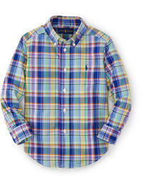 Ralph Lauren Long Sleeve Plaid Poplin Shirt Bluemulticolor Size 2 7