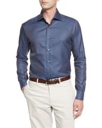 Brioni Long Sleeve Silk Blend Shirt Blue