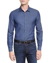Michl kors italian woven sport shirt blue medium 1043877