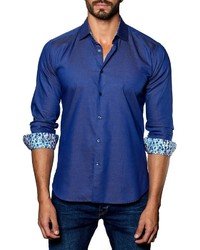 Jared Lang Micro Dot Sport Shirt Blue