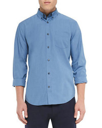 Vince Micro Gingham Check Shirt Blue
