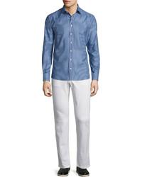 Etro Micro Pattern Long Sleeve Sport Shirt Blue
