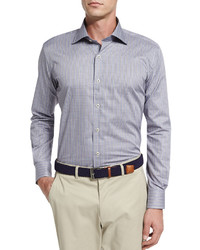 Peter Millar Milano End On End Sport Shirt Navy