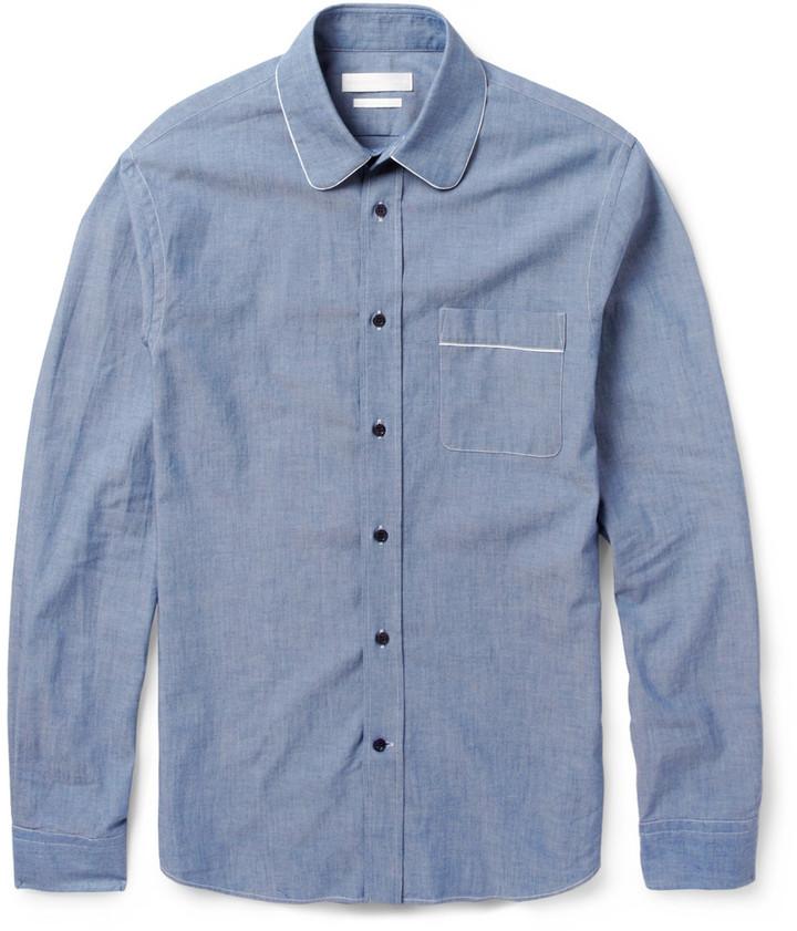 Alexander McQueen Round Collar Cotton Chambray Shirt