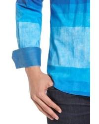 Bugatchi Shaped Fit Colorblock Sport Shirt