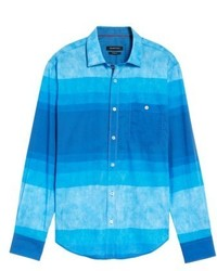 Bugatchi Shaped Fit Colorblock Sport Shirt