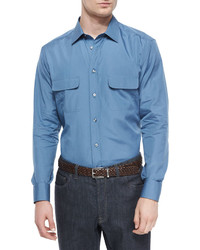 Brioni Solid Sport Shirt With Western Pockets Slate