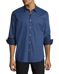 John Varvatos Star Usa Slim Fit Micro Pattern Sport Shirt Dark Blue