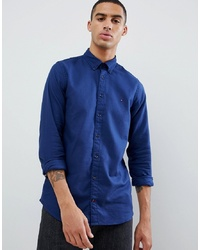 Tommy Hilfiger Textured Dobby Slim Fit Shirt Flag Logo In Dark Blue