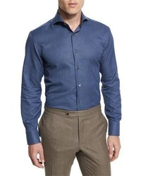 Canali Textured Solid Long Sleeve Sport Shirt Indigo