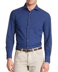 Brunello Cucinelli Tonal Dot Button Down Shirt