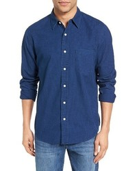Faherty Ventura Trim Fit Indigo Dot Sport Shirt