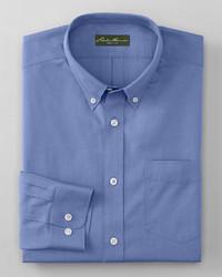 Eddie Bauer Wrinkle Free Slim Fit Pinpoint Oxford Shirt Solid