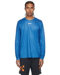 Off-White Blue Active Logo Mesh Long Sleeve T Shirt