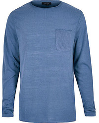 River Island Blue Long Sleeve T Shirt