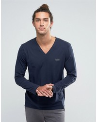 Hugo Boss Boss By V Neck Long Sleeve Top In Regular Fit