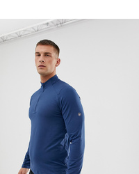Asics Half Zip Long Sleeve Top In Blue