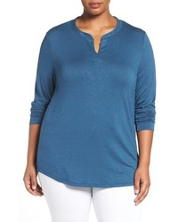 Sejour Split Neck Long Sleeve Tee