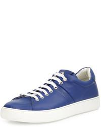 Moncler Vincent Low Top Leather Sneaker Blue